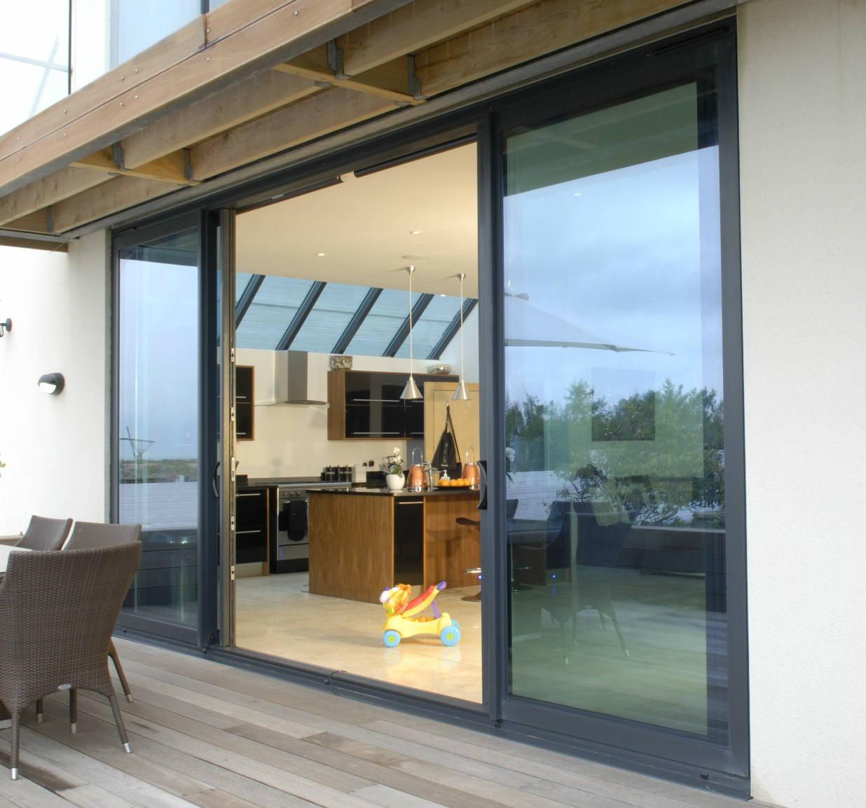 Slimline Aluminium Sliding Doors Large Glass Panels